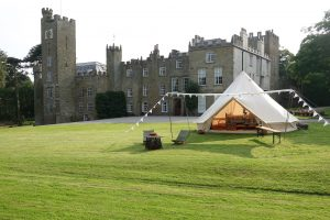 Glamping tent outside gyrn castle